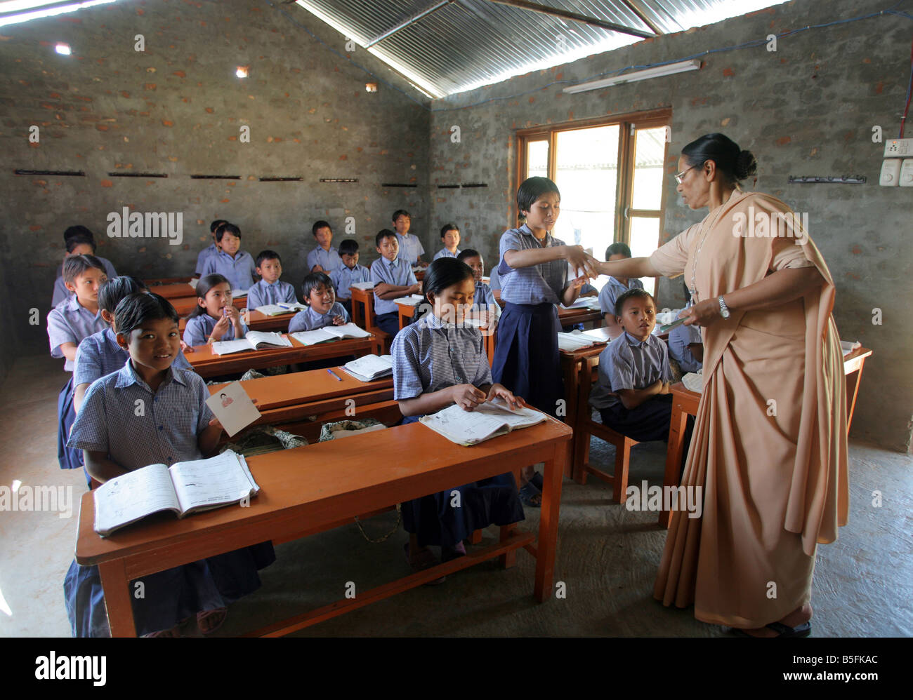 Nepal, lessons in a village school in Jayamangala - Stock Image