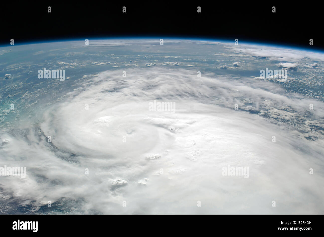 A westward-looking oblique view of Tropical Storm Fay. - Stock Image