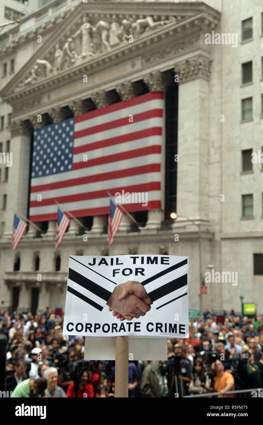 Rally against corporate crime on Thursday October 16 2008 in front of the New York Stock Exchange - Stock Image