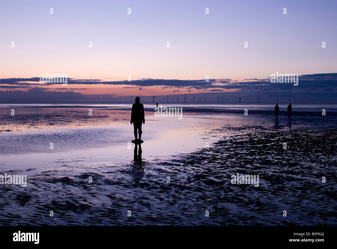 Antony Gormley  Crosby Beach Liverpool England U K - Stock Image