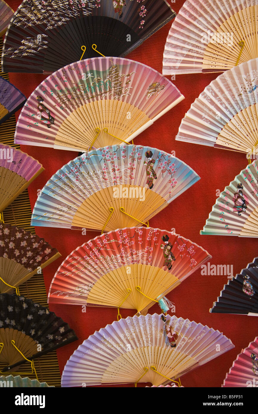 Kyoto City Japan Street near Kiyomizu Temple painted Japanese fans for sale Stock Photo