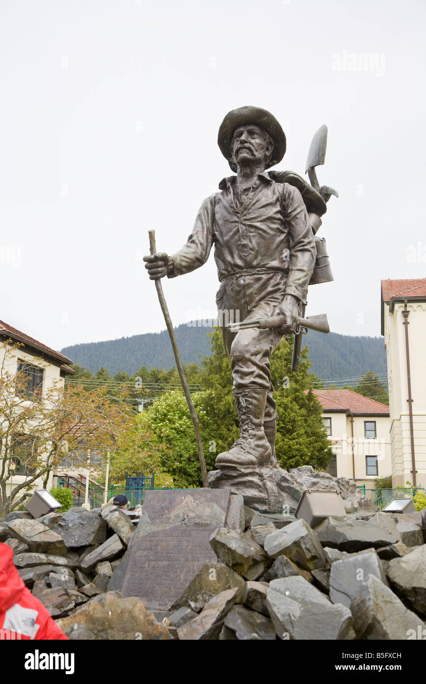The Prospector sculpture outside of the Sitka Pioneers Home was sculpted by Alonzo Victor Lewis - Stock Image