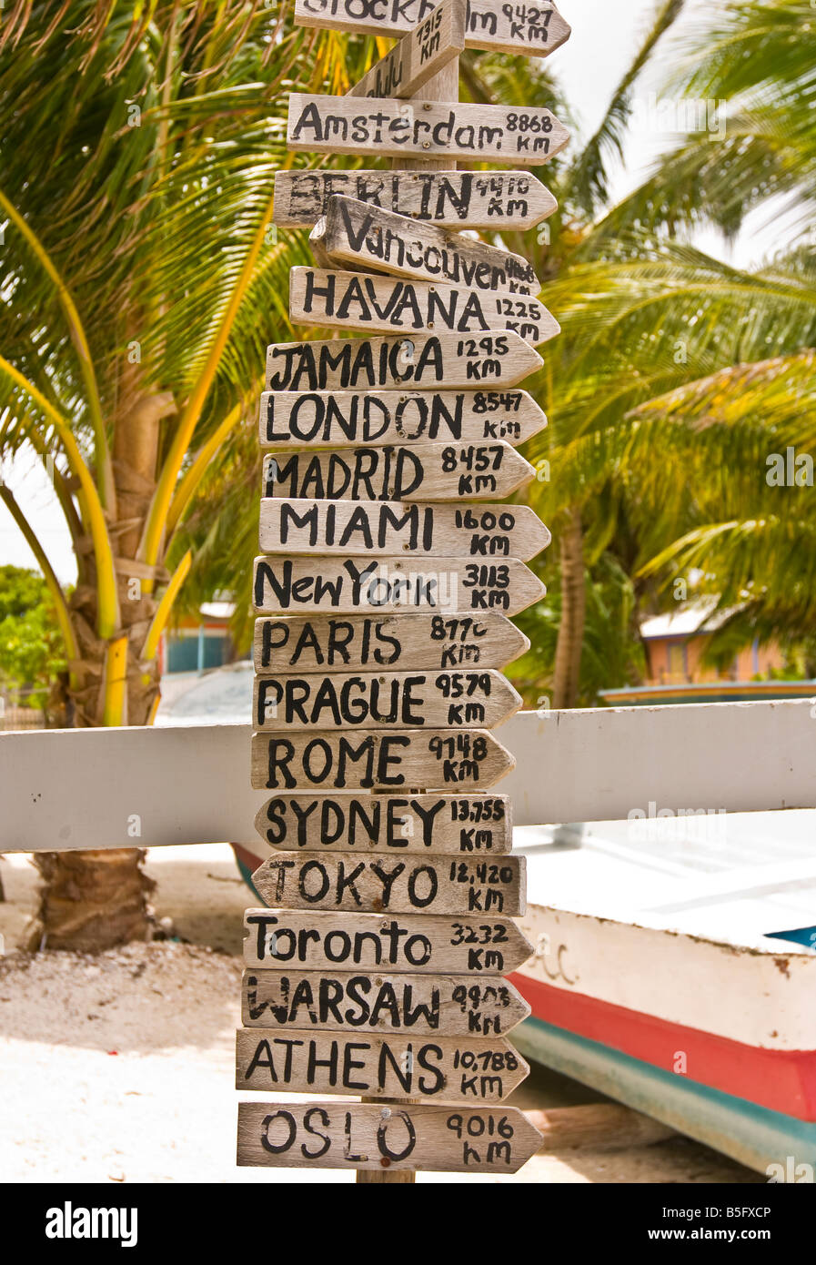 caye caulker belize sign post with many signs listing distance in