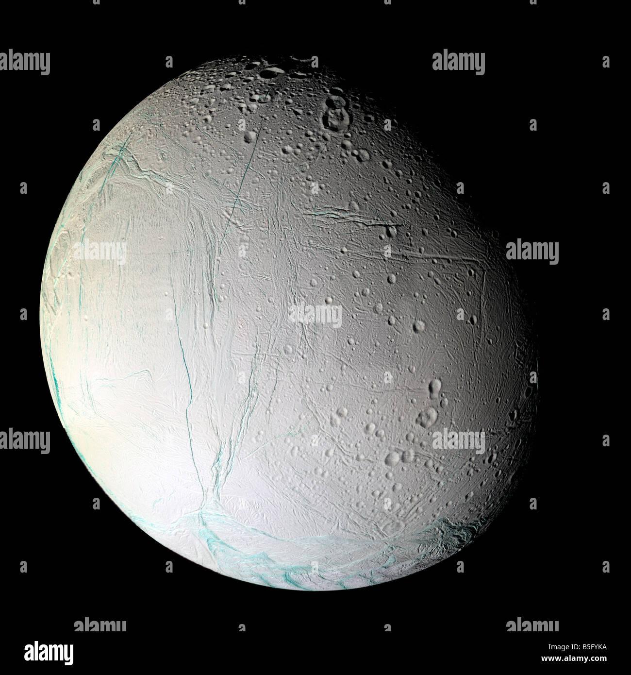 Saturn's moon Enceladus. - Stock Image