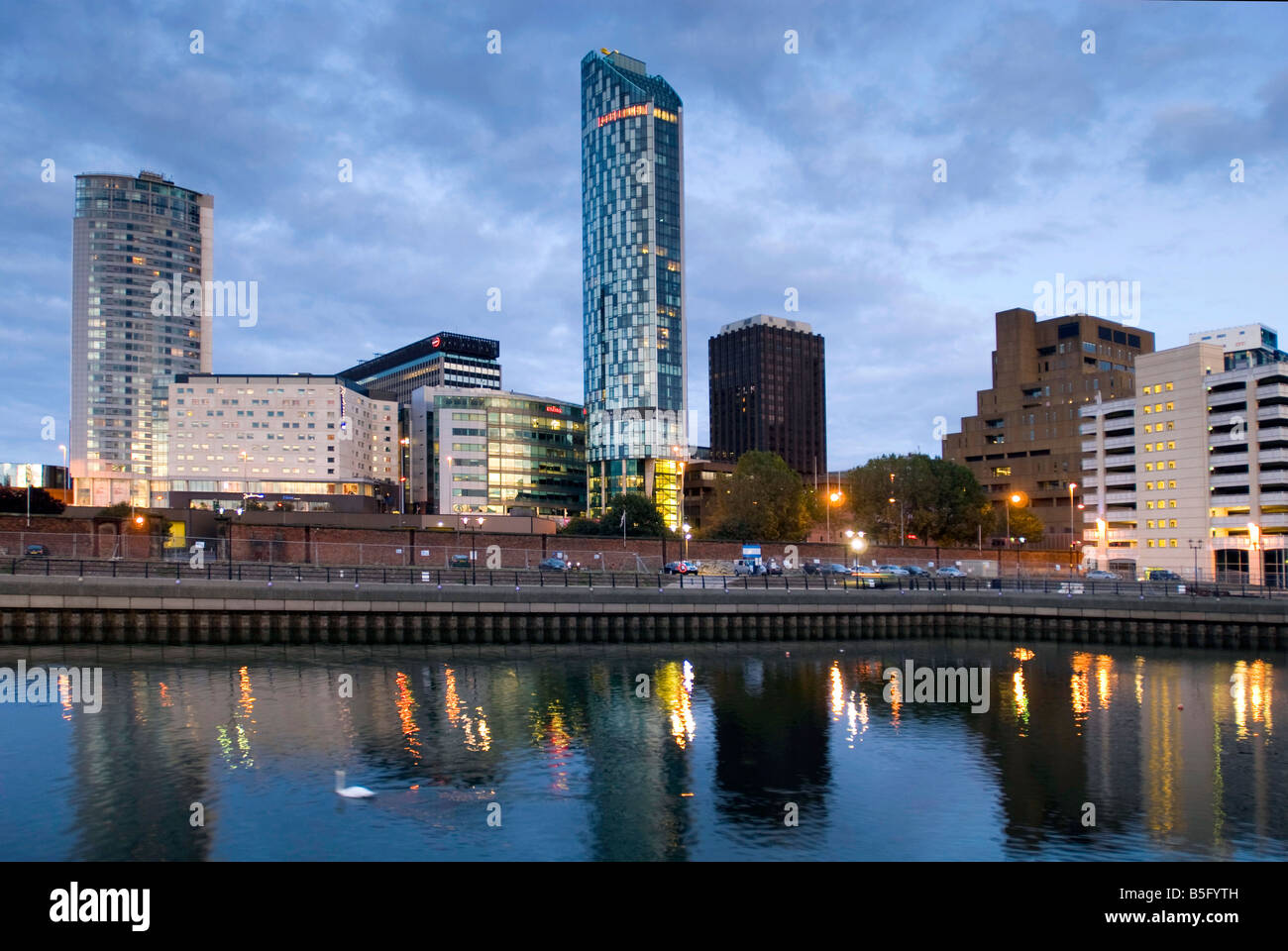 Liverpool modern developments Beetham Tower in the centre viewed across the Princes Dock with the Radisson hotel - Stock Image