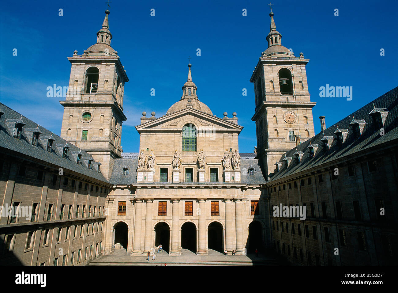 Spain - Madrid neighbourhood - El Escorial - Royal Monastery - San Lorenzo El Real - Court of the Kings Stock Photo