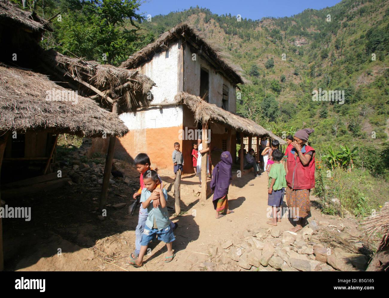 Nepal: village in the himalaya mountains - Stock Image