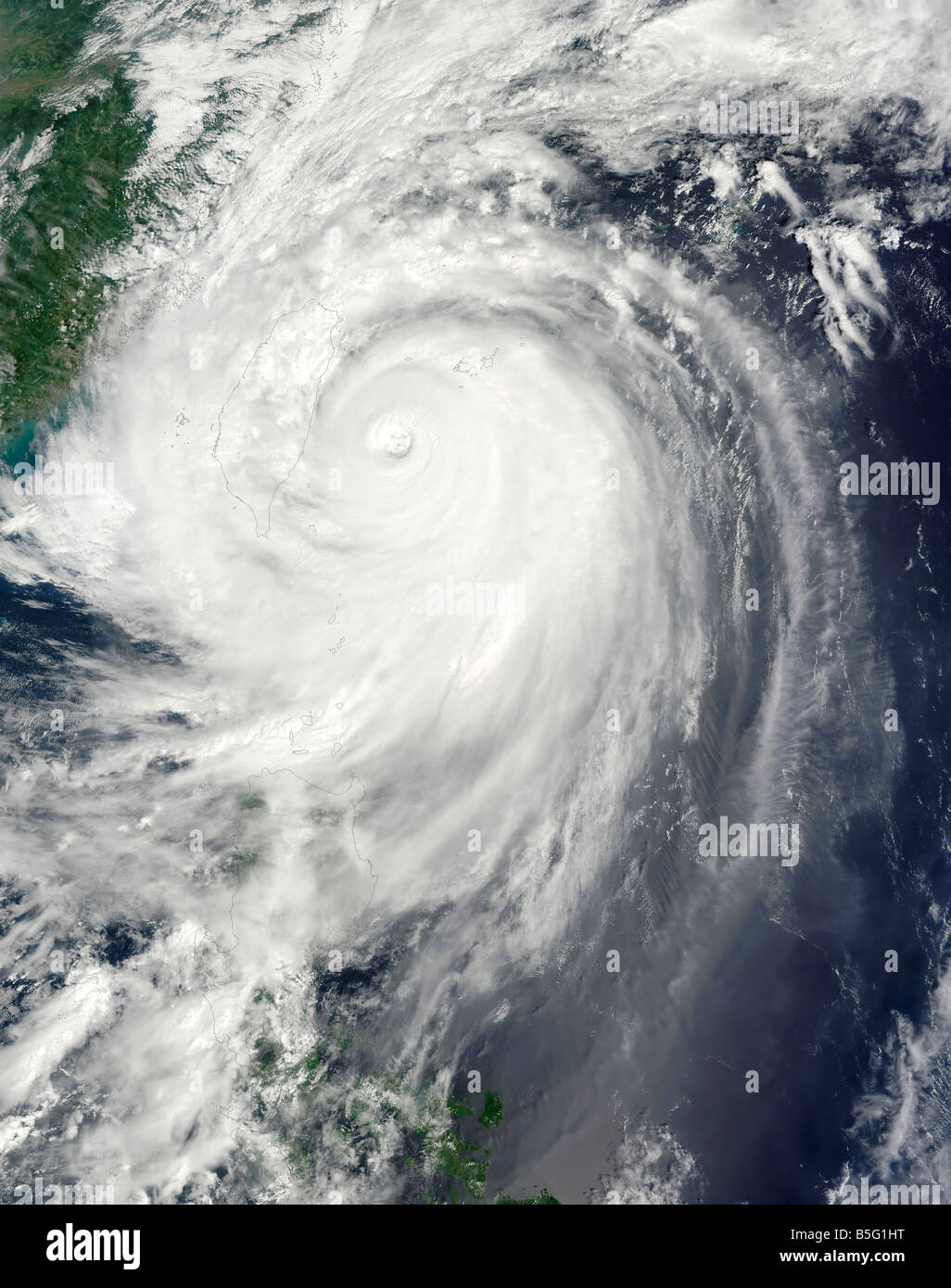 September 28, 2008 - Typhoon Jangmi at 10:20 a.m., local time, a few hours before the typhoon came ashore. - Stock Image
