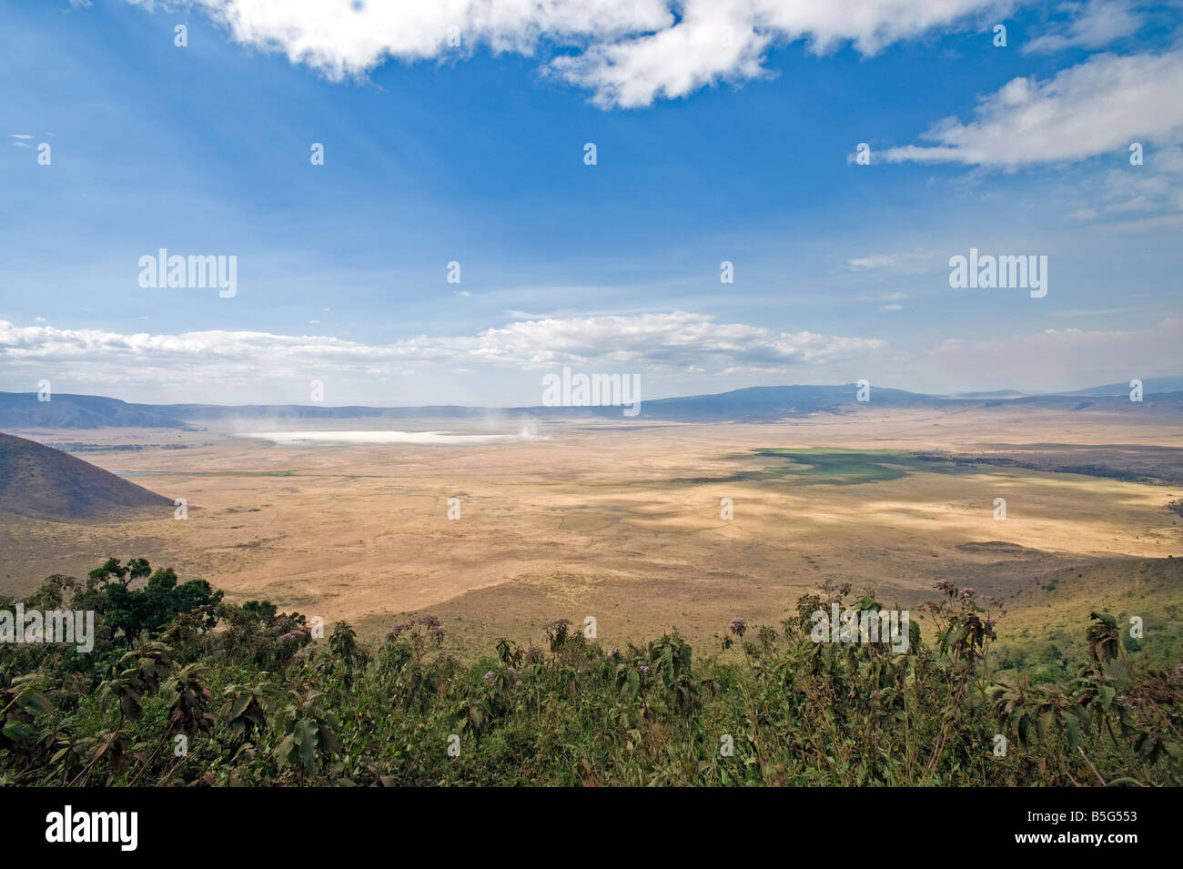 Panoramic view of Ngorongoro Crater during the dry season The crater is about 600m deep and 20km across Tanzania Stock Photo