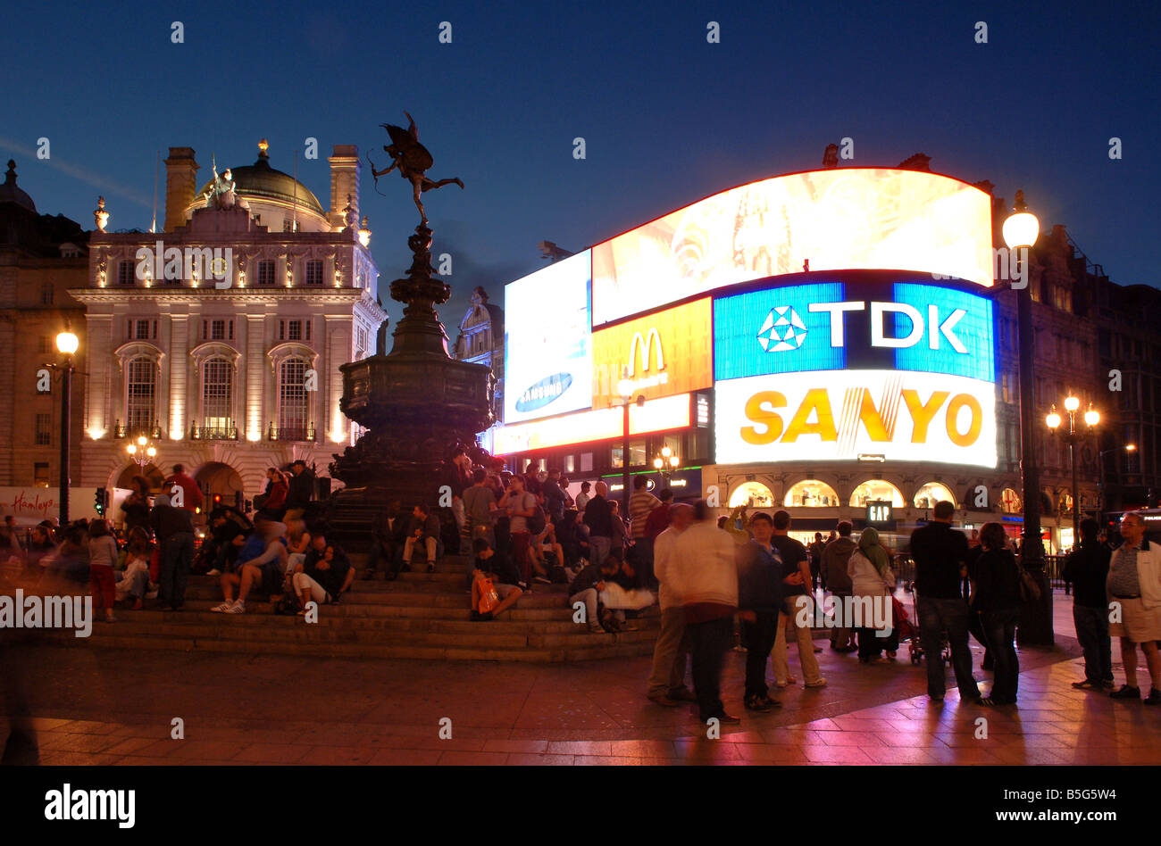 Picadilly Circus West End Regent Street London at night - Stock Image