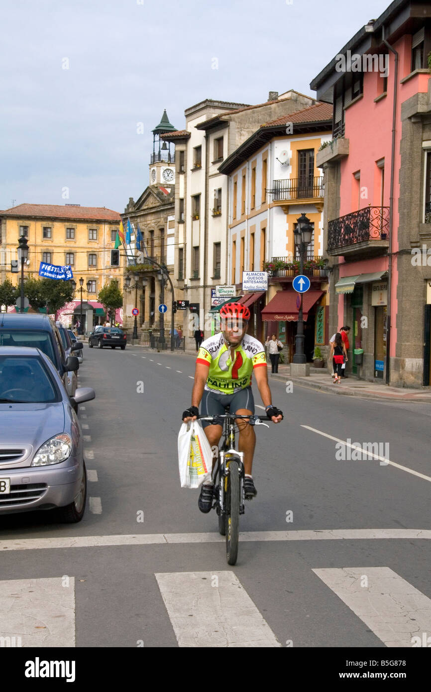 Bicyclist in the town of Cangas de Onis Asturias northern Spain - Stock Image