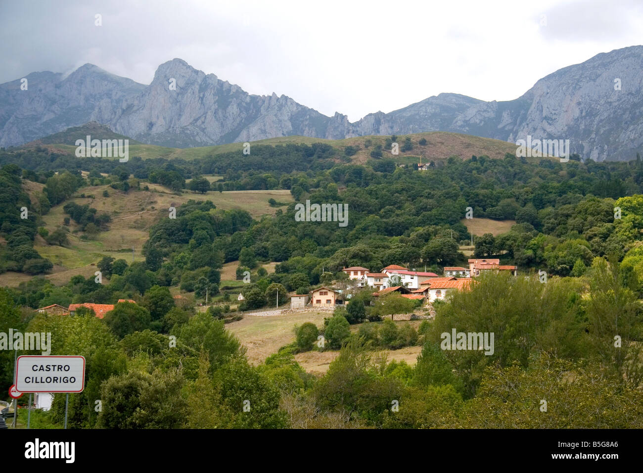 Residential homes in the Picos de Europa near Potes Liebana Cantabria northwestern Spain - Stock Image