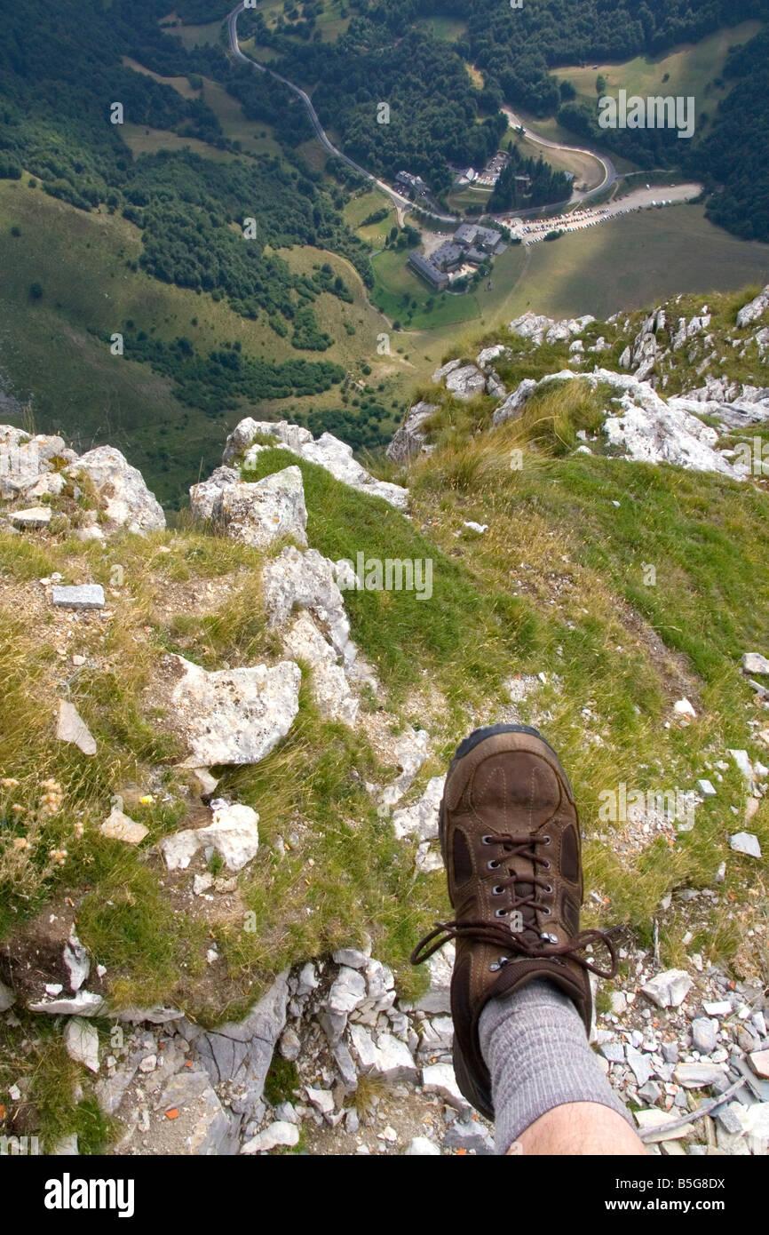 Hiking in the Picos de Europa at Fuente De Liebana Cantabria northwestern Spain - Stock Image