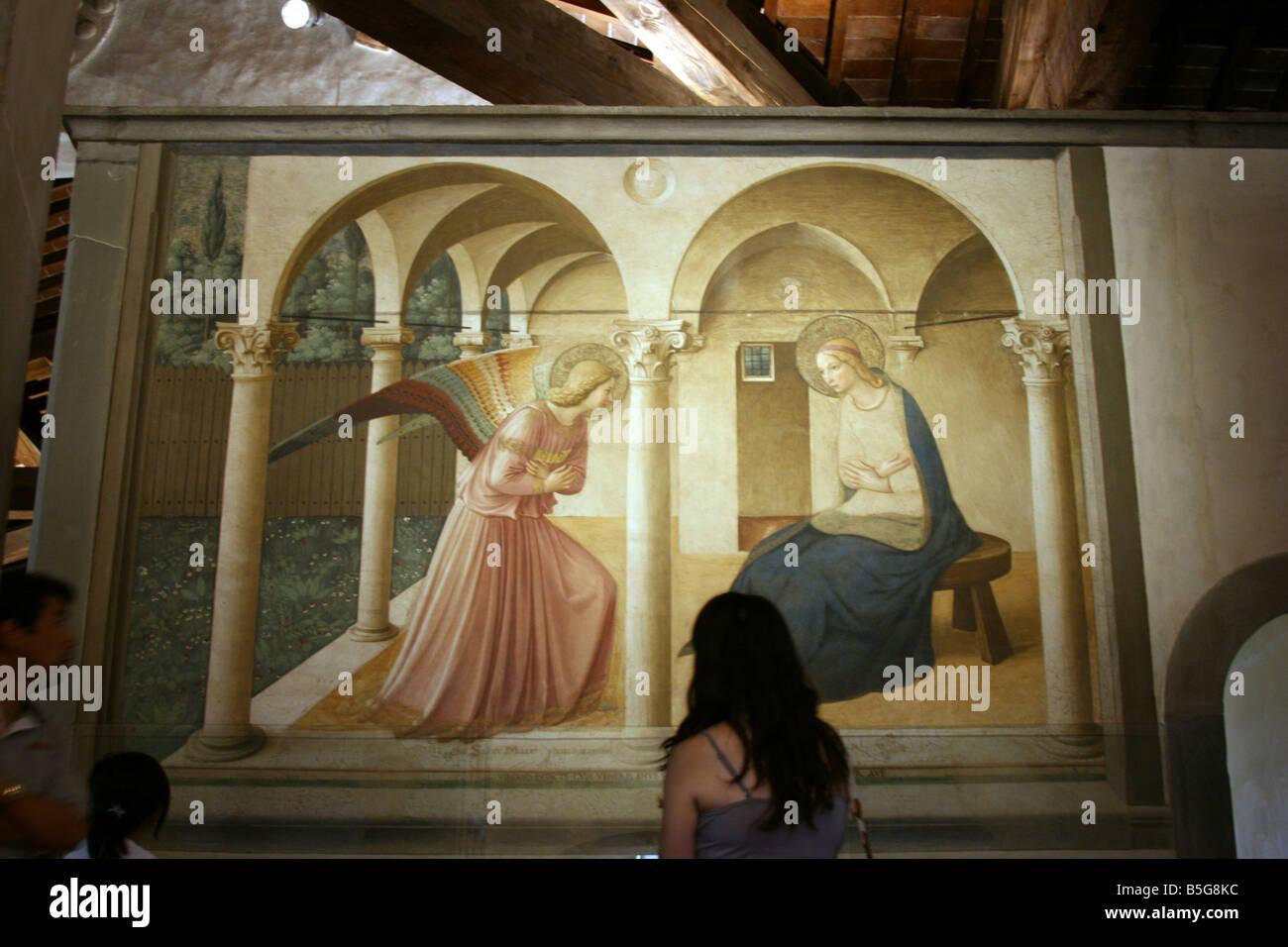the Annunciation fresco, San Marco monastery, Florence, Italy Stock ...