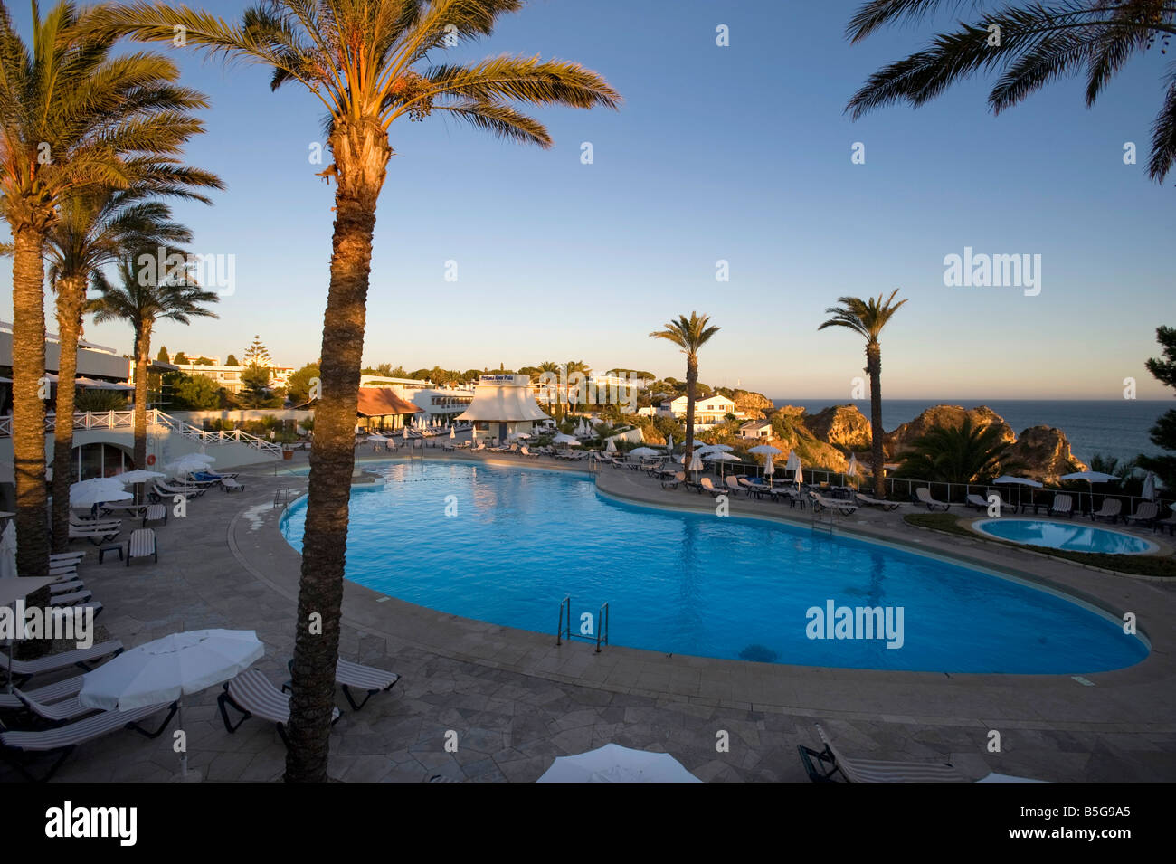 Hotel swimming pool,Algarve Portugal - Stock Image