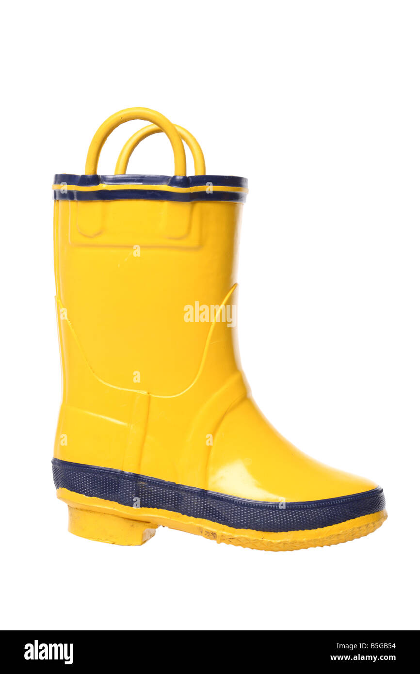 Yellow rubber boot cutout on white background Stock Photo