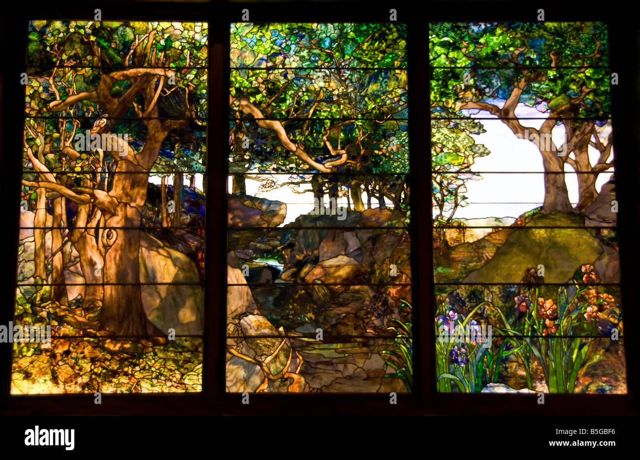 Houston Museum of Fine Arts collection, A Wooded Landscape in Three Panels by Louis Comfort Tiffany, c 1905 Stock Photo