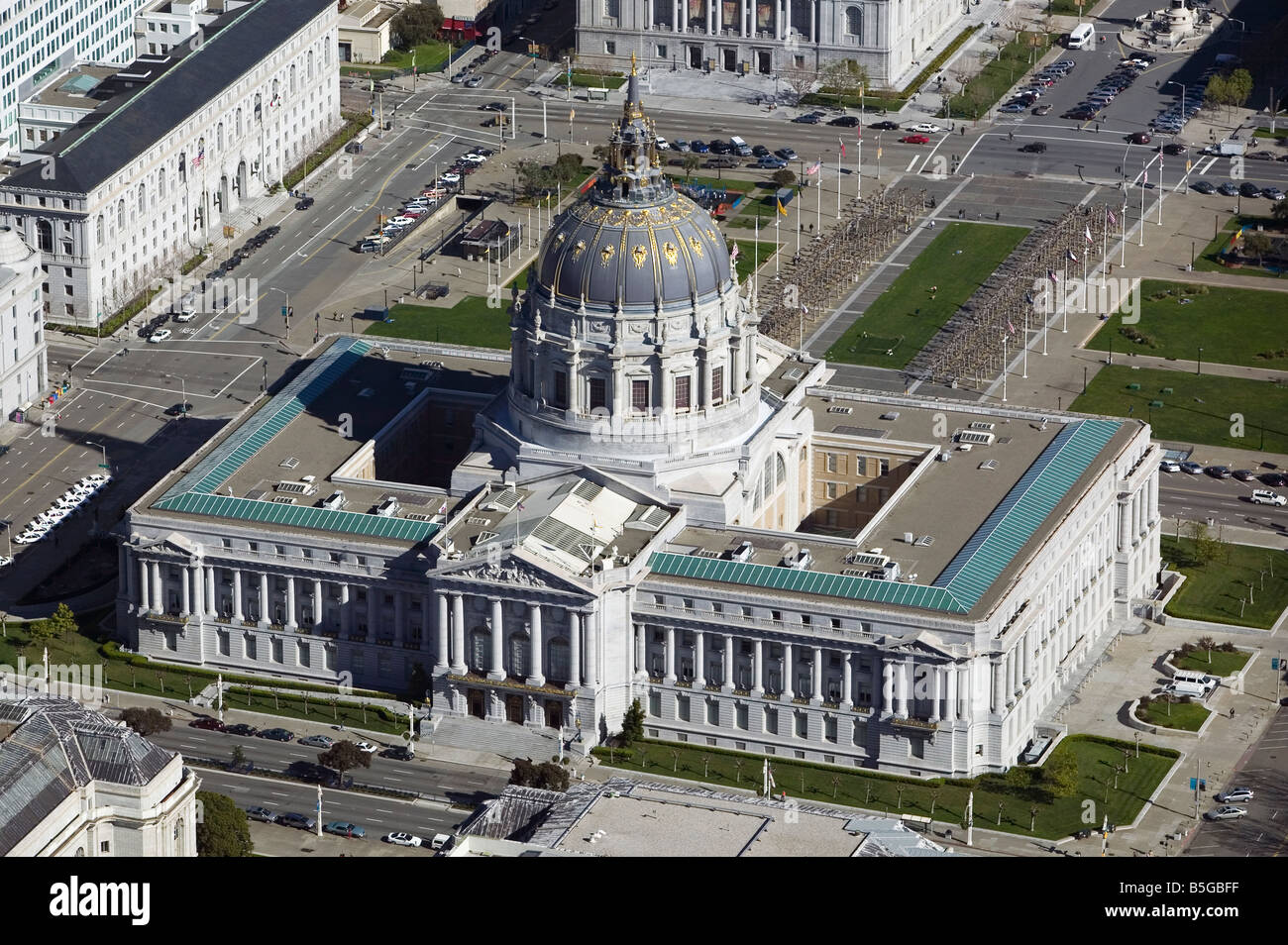 aerial view above San Francisco city hall civic center - Stock Image