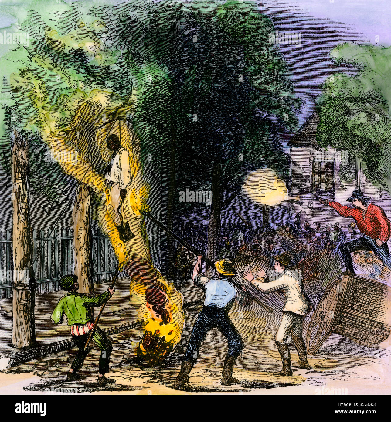 Hanging a black man on Clarkson Street during the New York draft riots 1863. Hand-colored woodcut Stock Photo