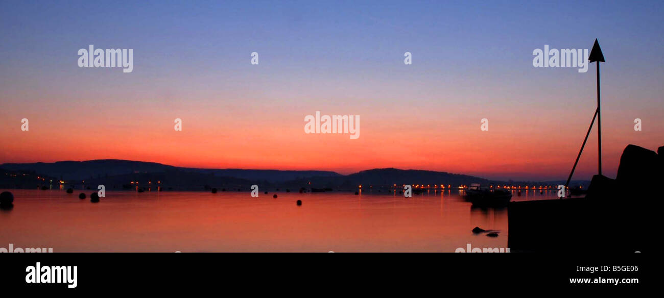 A sunset over the river exe estuary at Exmouth, Devon, UK - Stock Image