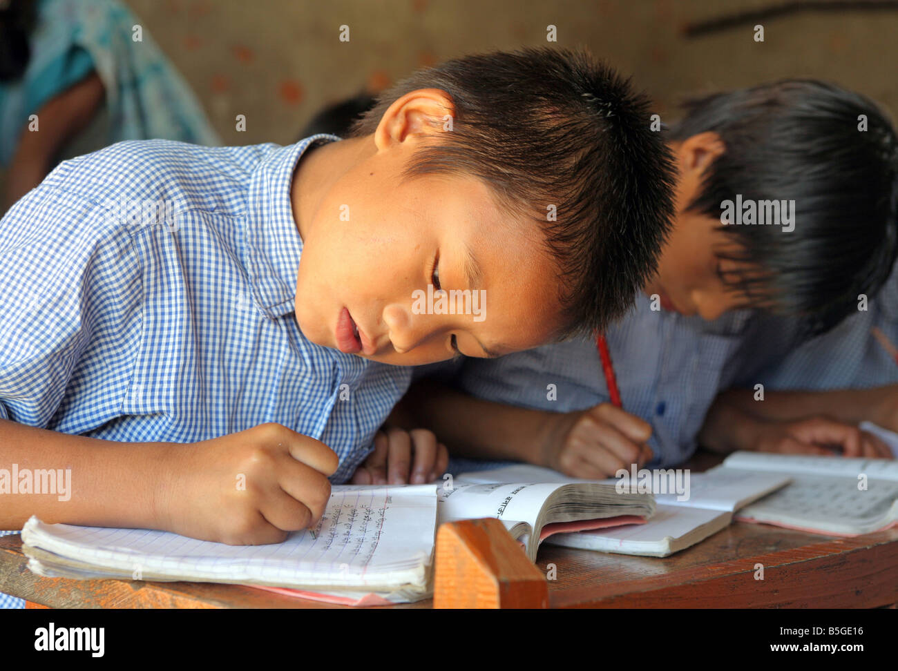 - Nepal, boy during a lessons in a village school in Jayamangala - Stock Image