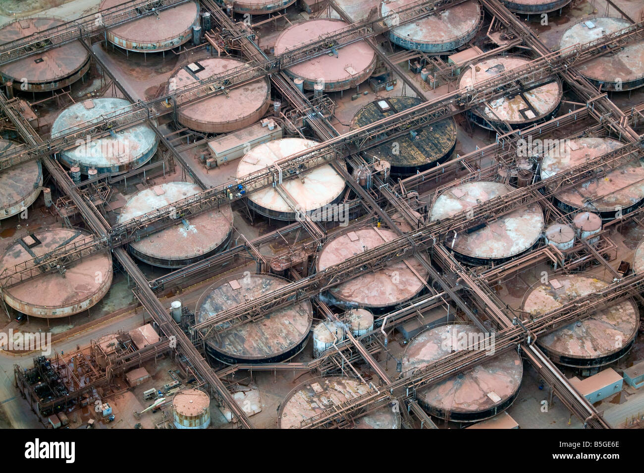 aerial view above chemical pressure digester tanks at Alcoa Point Comfort Texas alumina refinery - Stock Image
