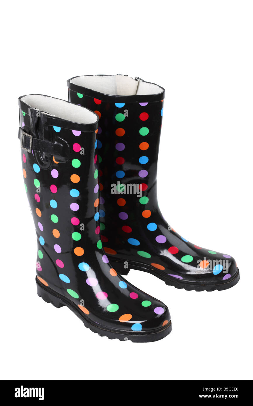 Polka Dot boots cutout on white background - Stock Image