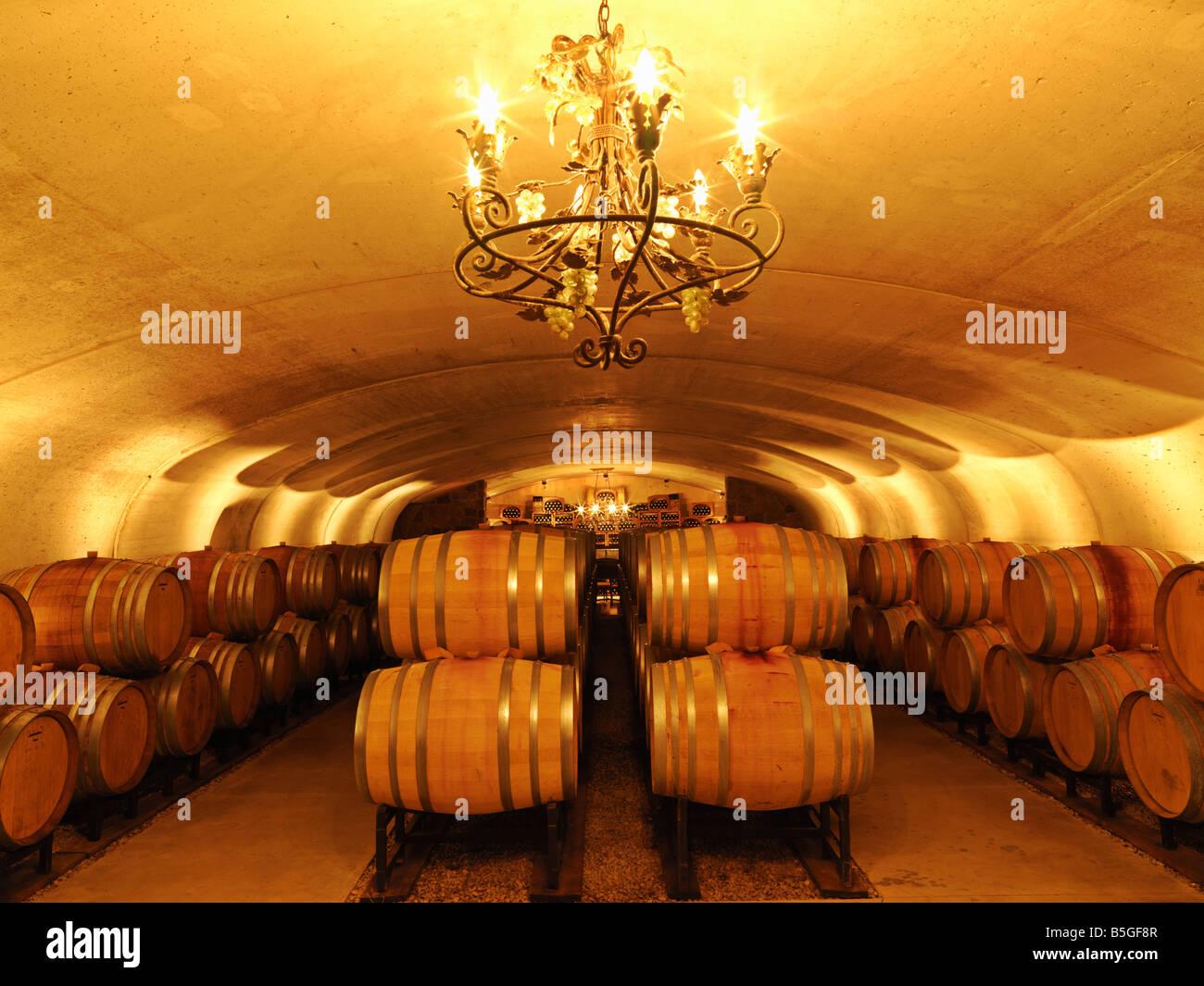 Canada,Ontario,Vineland,wine barrel cellar Vineland Estates Winery Niagara Region Stock Photo
