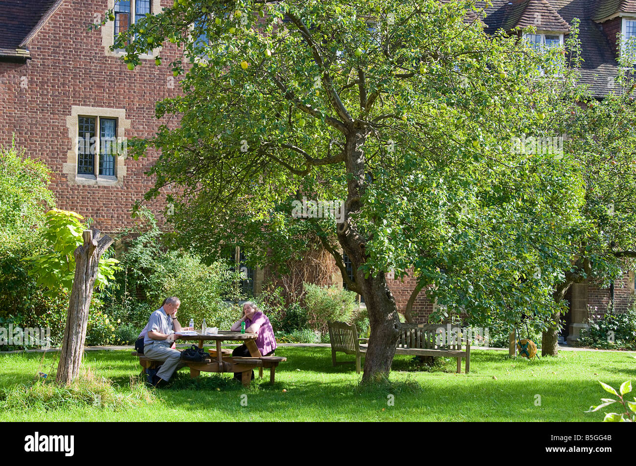 Three people relaxing in the shade of an apple tree in the grounds of Wescott House. - Stock Image