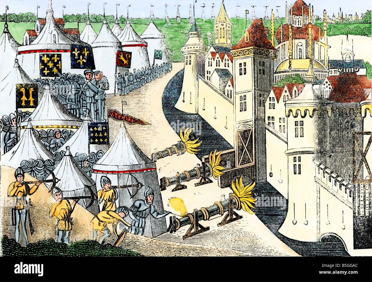 Siege of a town in France during the Hundred Years War. Hand-colored woodcut - Stock Image