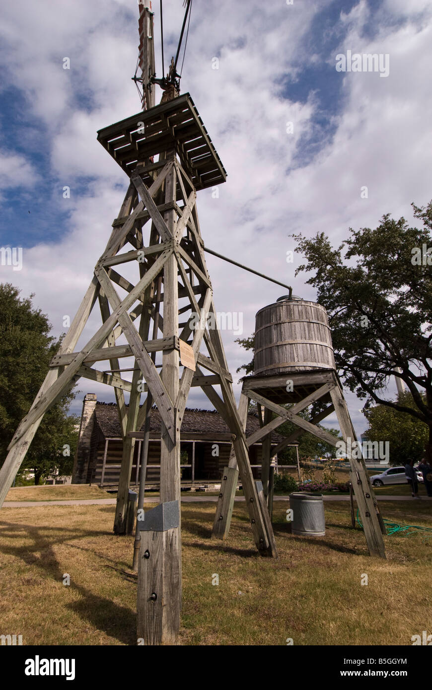 Historic windmill outside Institute of Texan Cultures, San Antonio, Texas. - Stock Image