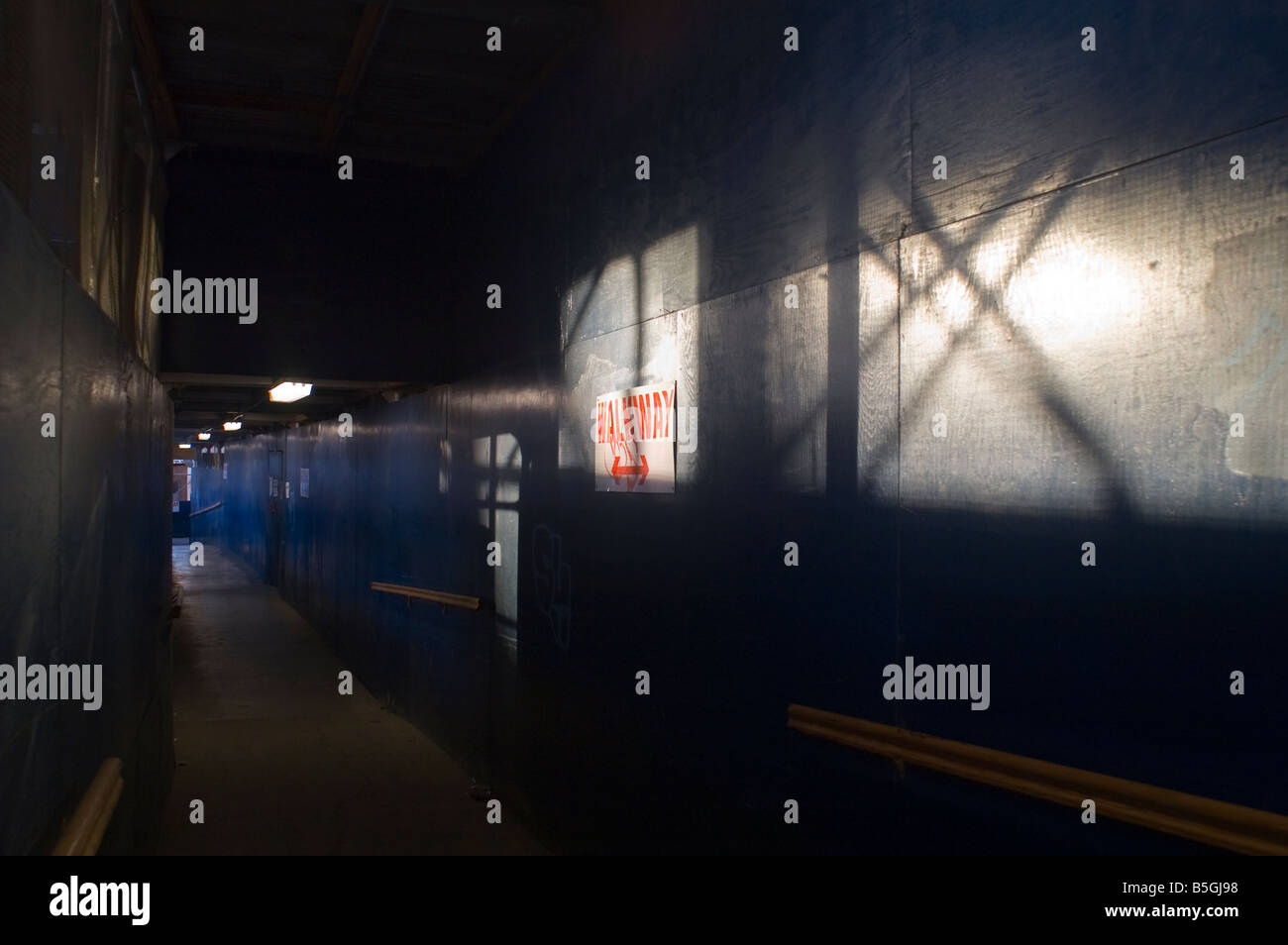 A pedestrian corridor in a construction site in New York on October 11 2008 Frances M Roberts - Stock Image