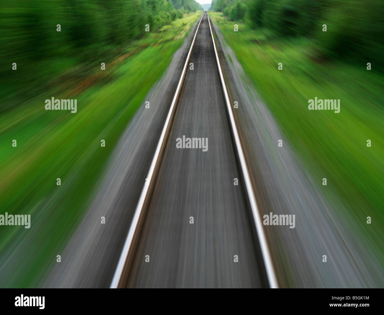 Canada,Manitoba,Churchill,train tracks through Boreal forest of Northern Manitoba - Stock Image