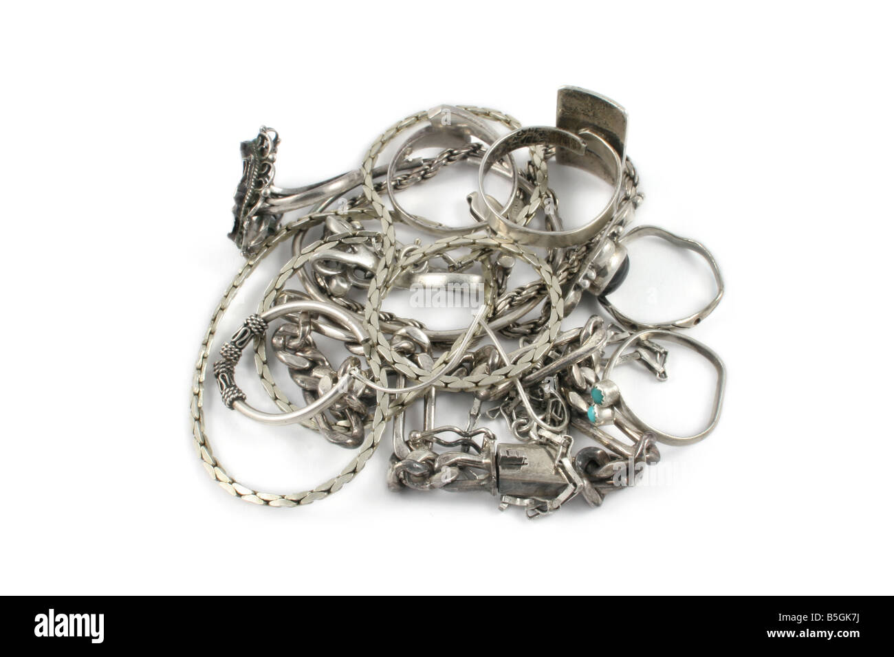 Scrap sterling silver jewelry. - Stock Image