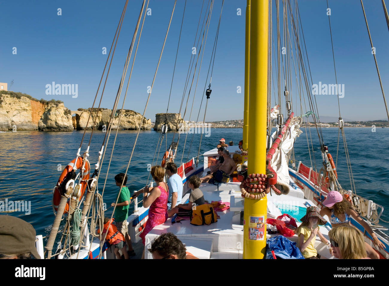 Algarve Portugal Ponta da Piedade  ,Lagos. Algarve, Portugal. Bridge of Piety , Sailing, Boat trips - Stock Image