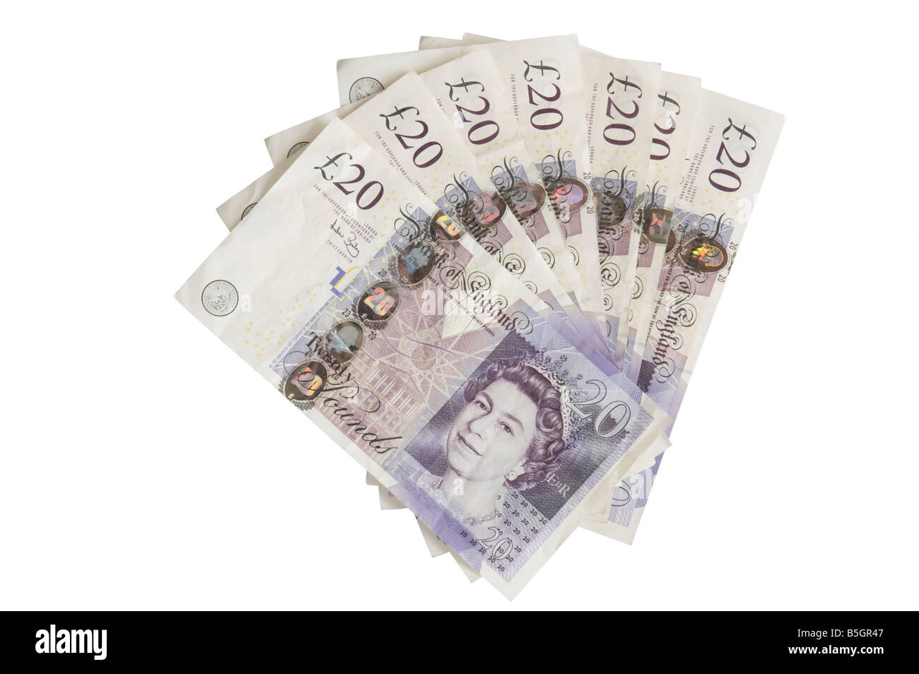 20 Pound Notes cutout onto a white background - Stock Image