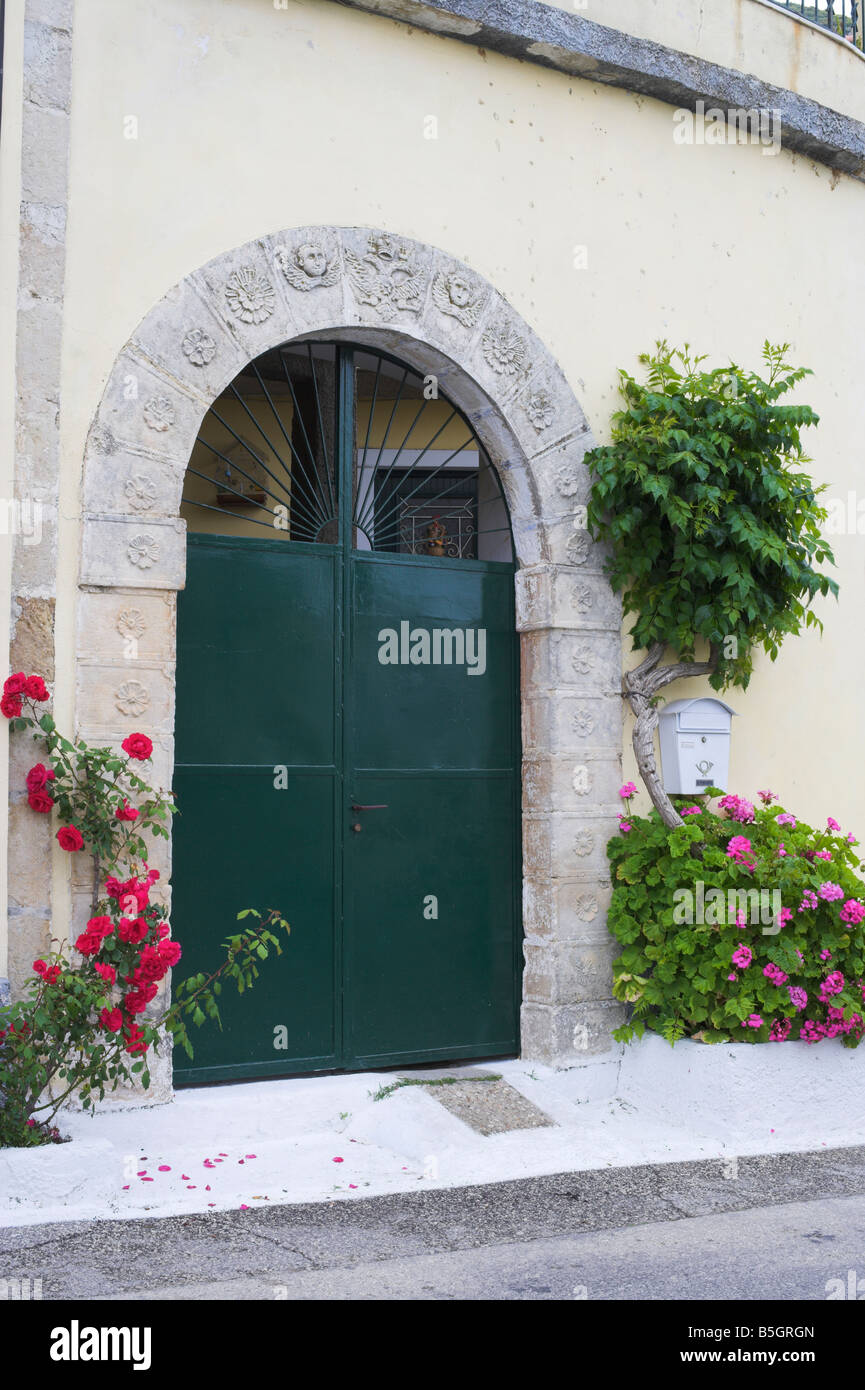 decorated doorframe Corfu - Stock Image