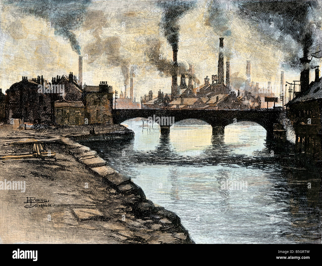 Smokestacks from steel factories in Sheffield England 1800s. Hand-colored woodcut - Stock Image