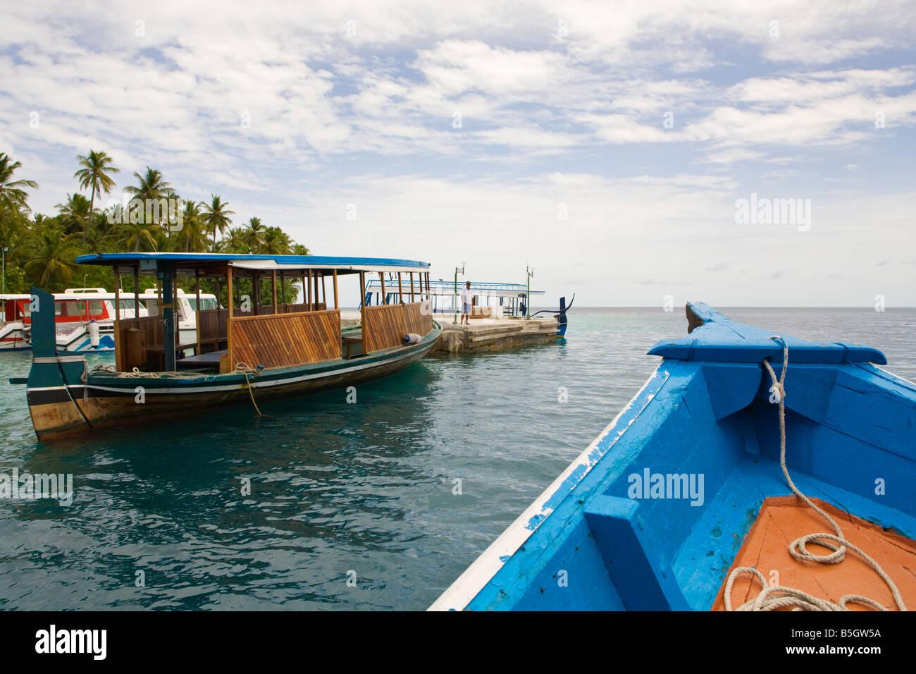 Boats Docking On Biyadhoo Island Resort In The Maldives