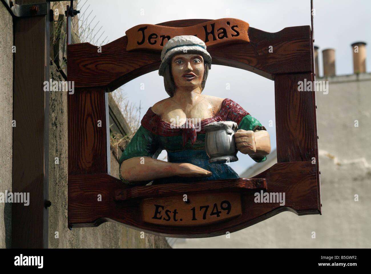 Sign for the Jenny Ha's pub on the Royal Mile, Edinburgh, Scotland, UK. Stock Photo