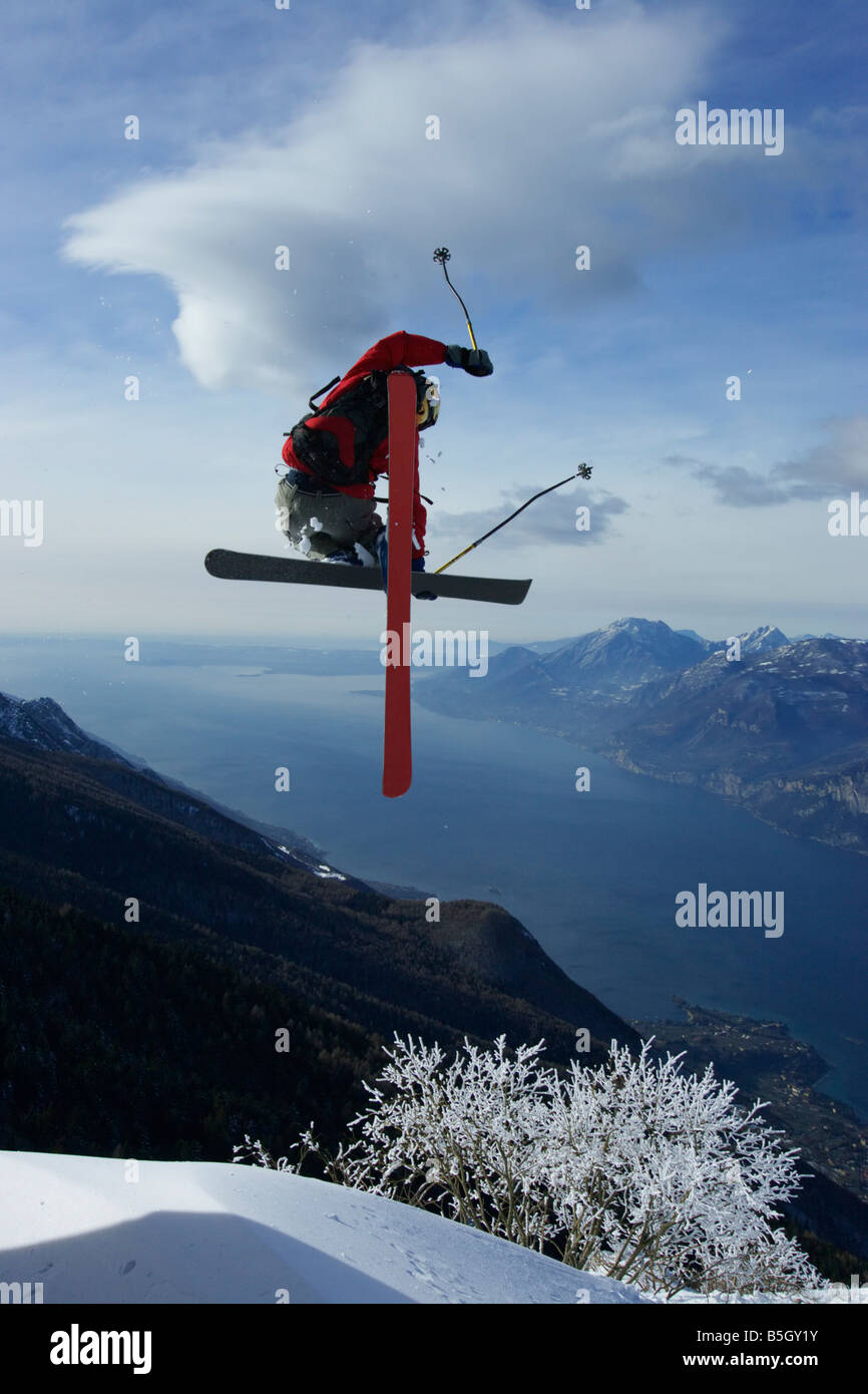 Extreme skier doing a stunt - Stock Image