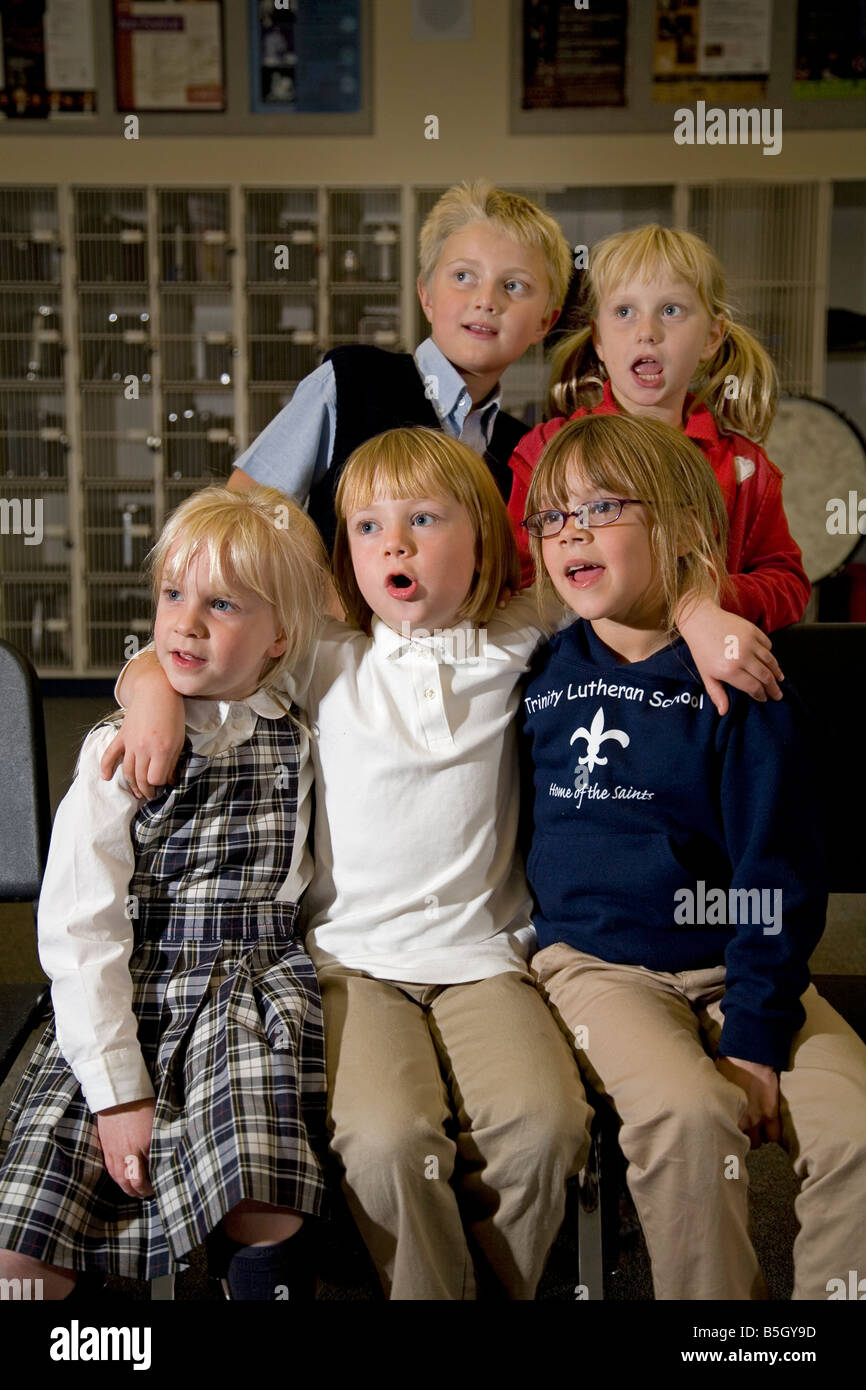 A children s choir sings an old folk song at a rehersal in Bend Oregon - Stock Image