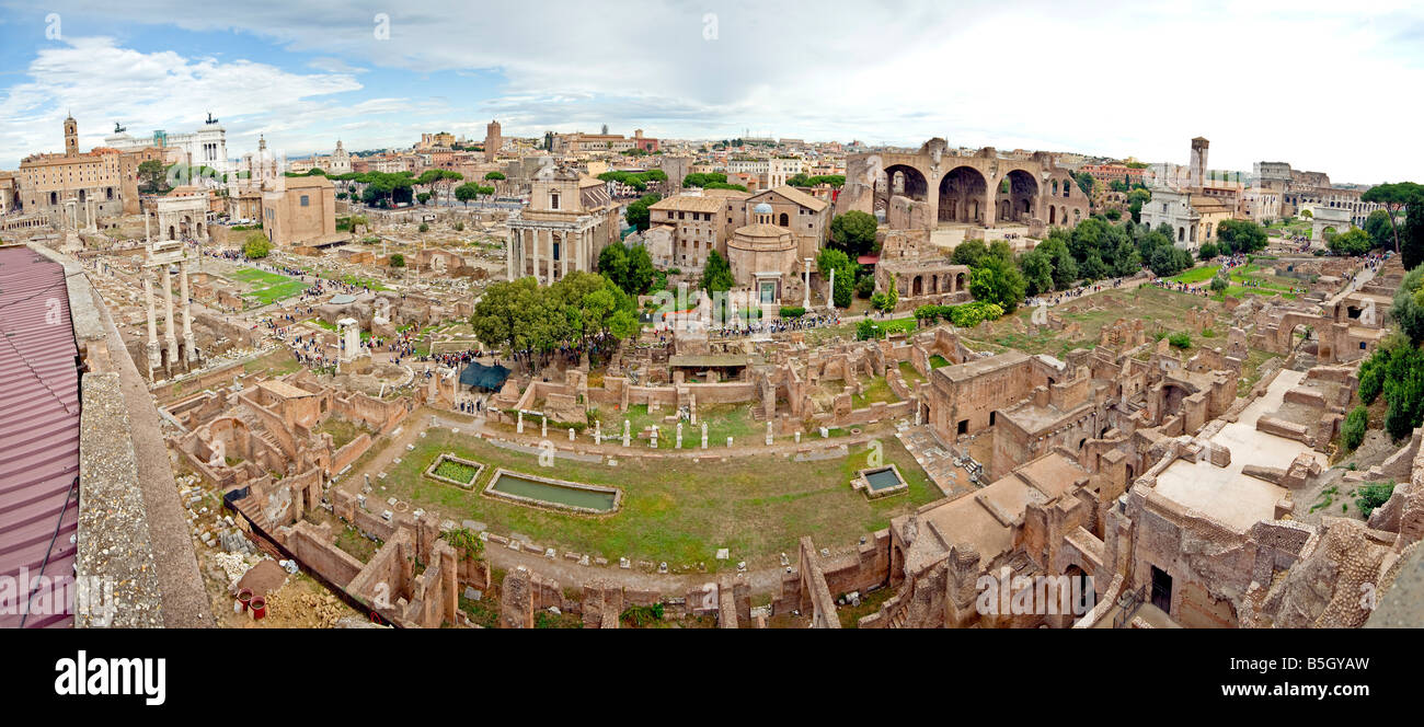 Rome's Roman Forum Foro Romano from an elevated vantage point. Panorama - Stock Image