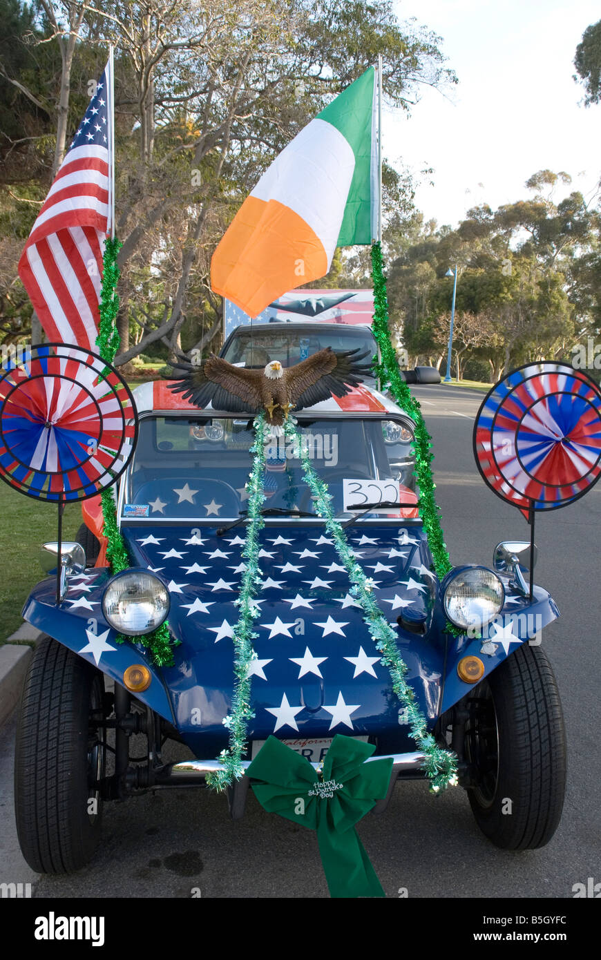 gaily decorated car at a St Patricks Day parade. - Stock Image