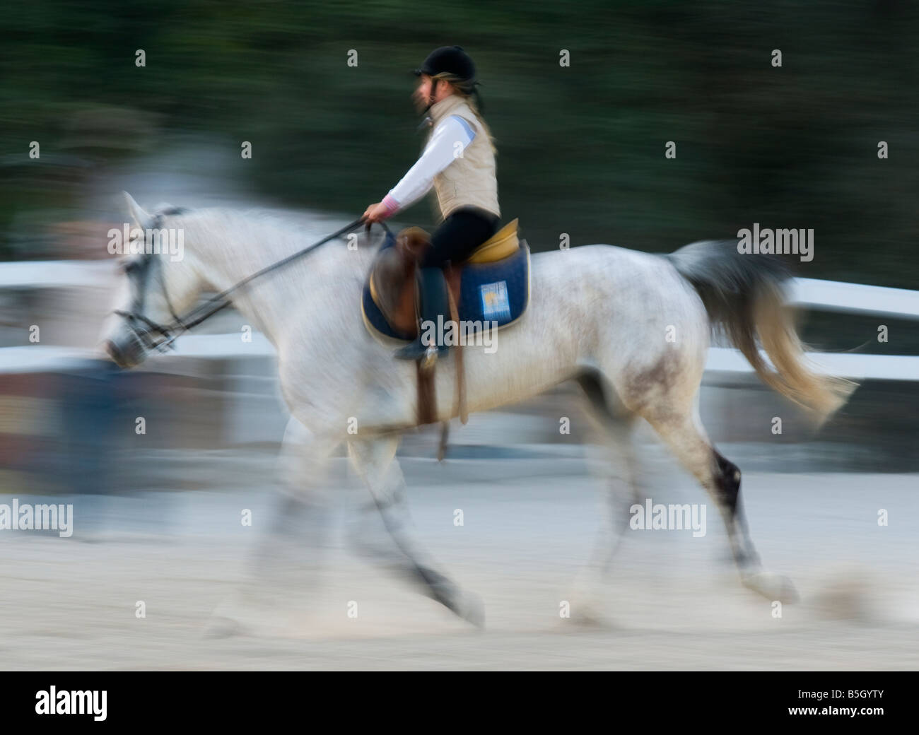 young girl horse riding - Stock Image