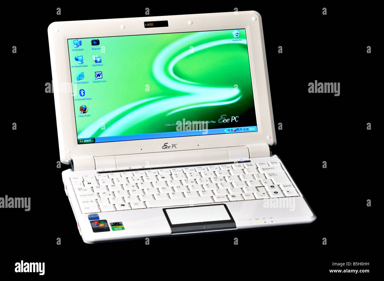 ASUS Eee PC showing keyboard and screen - Stock Image