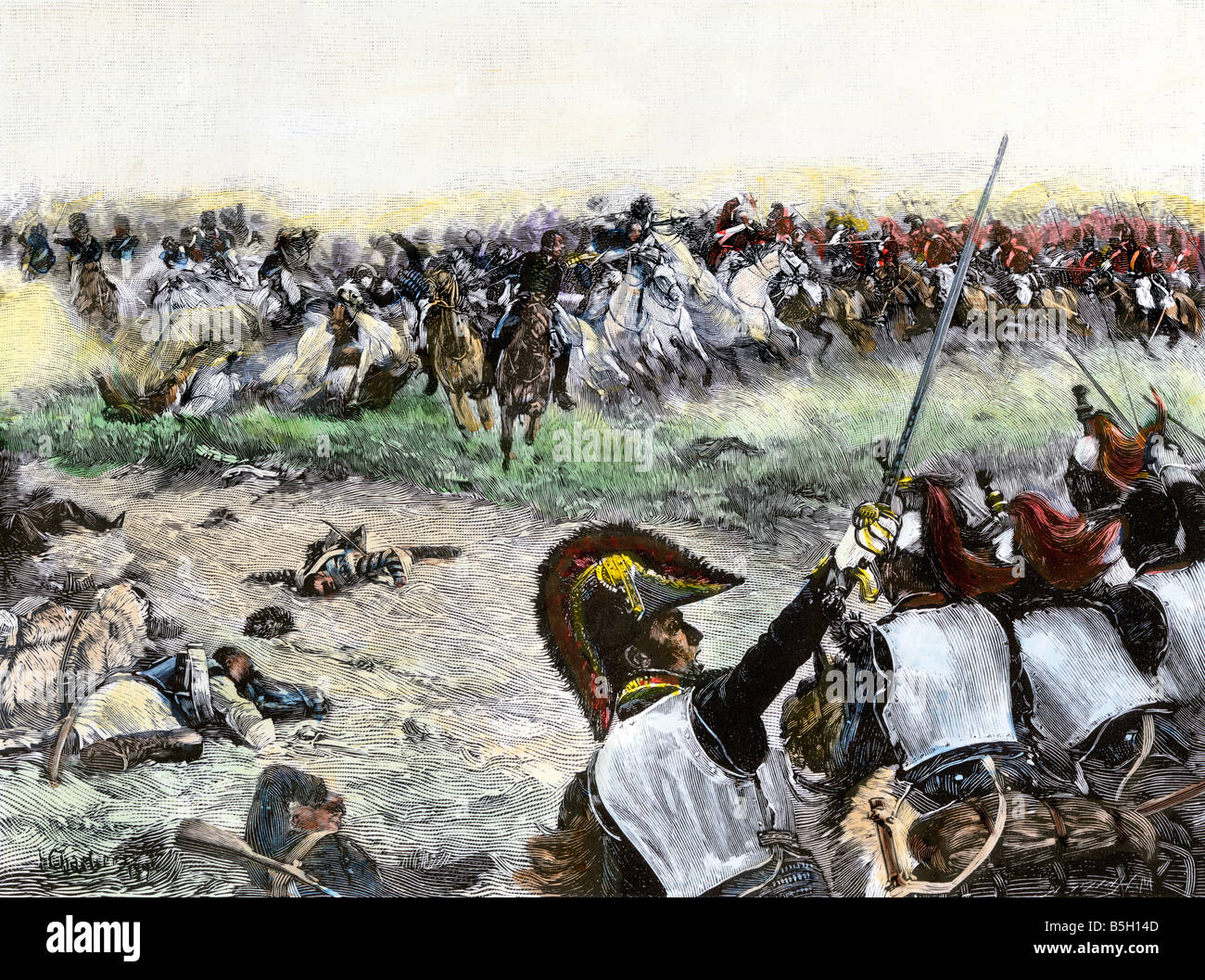 Cavalry charge during Napoleon's final battle at Waterloo 1815. Hand-colored halftone of an illustration - Stock Image