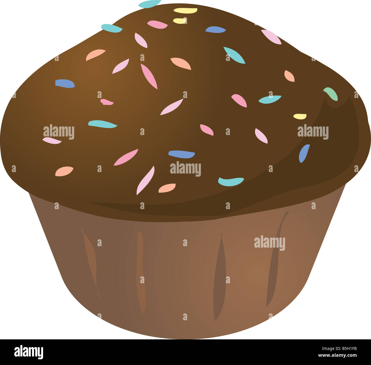 Chocolate with sprinkles cupcake muffin cake illustration - Stock Image