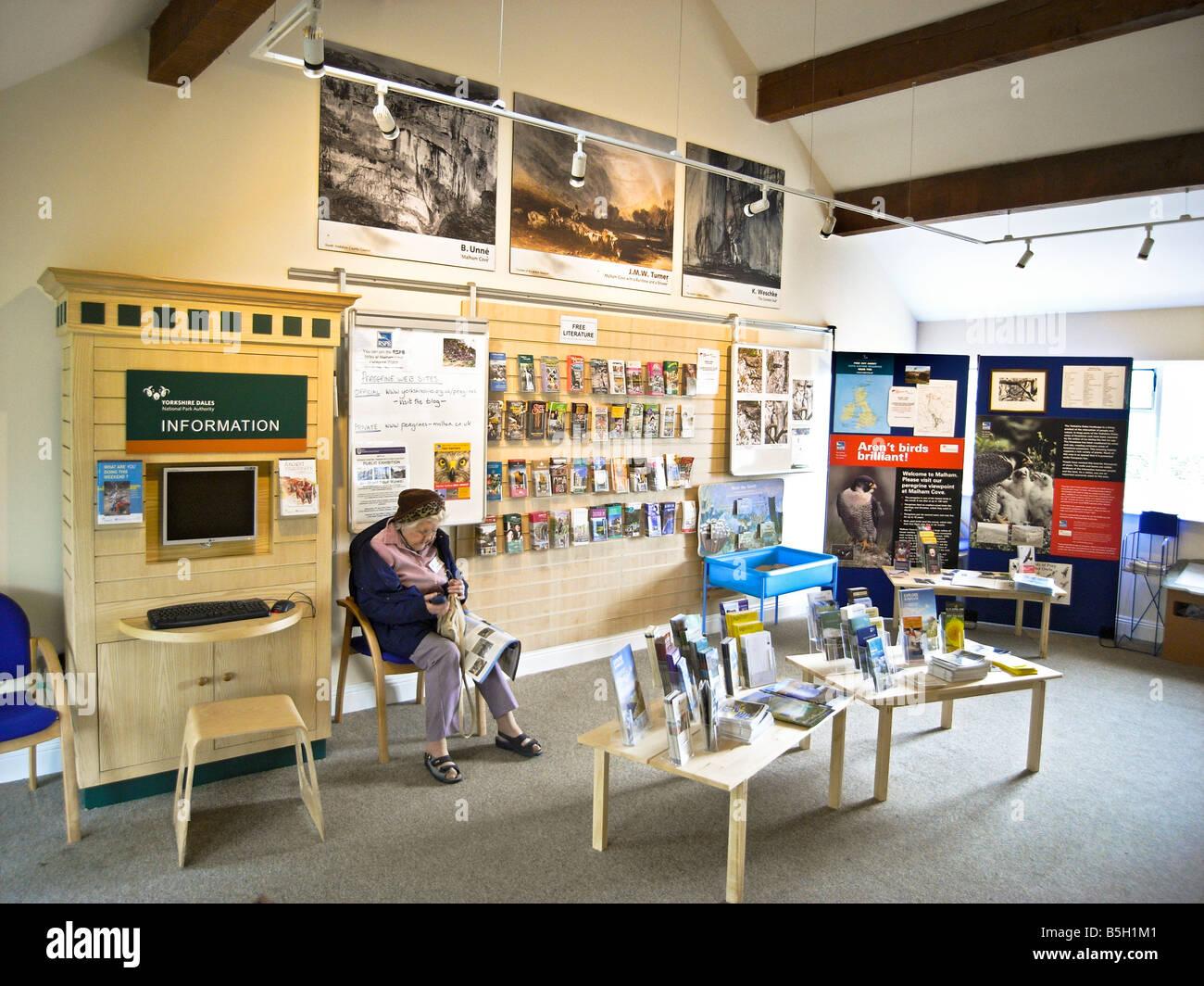Inside the information centre at Malham Yorkshire England UK EU - Stock Image