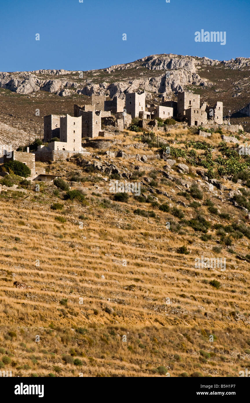 The village of Vathia and its stone tower houses in the Deep Mani, Southern Peloponnese, Greece - Stock Image